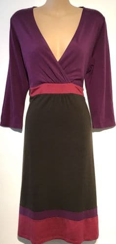 BODEN MAGENTA PANEL WRAP CHEST DRESS SIZE 14R