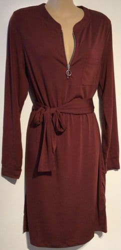 BURGUNDY ZIP FRONT TUNIC BELTED DRESS NEW SIZES 10 - 20