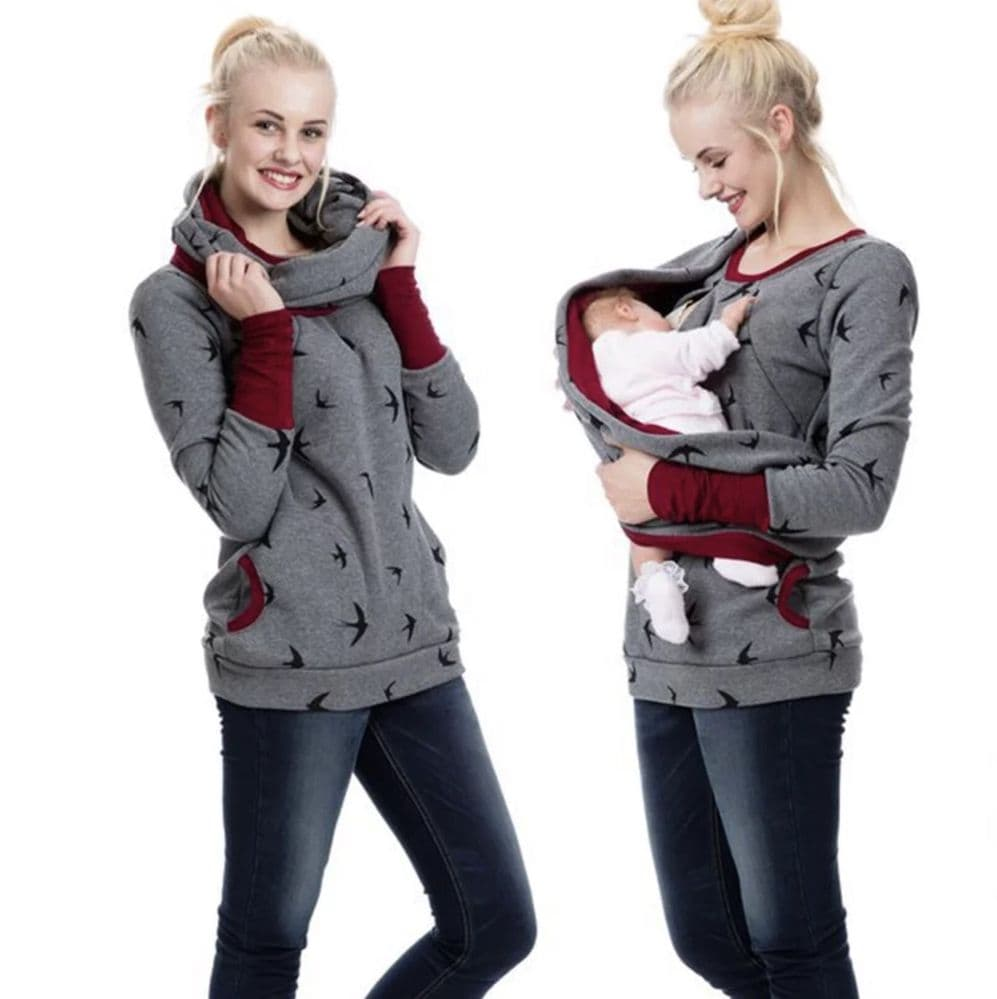 CHARCOAL SWALLOWS BREASTFEEDING SWEATER WITH ZIPS & SNOOD SIZES UK 8-18
