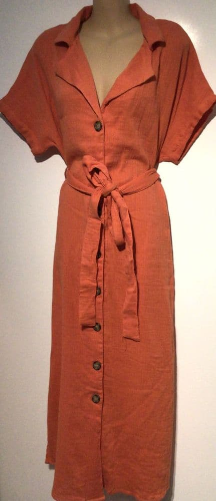 CORAL BUTTONED MIDI SHIRT DRESS NEW SIZE 18-20