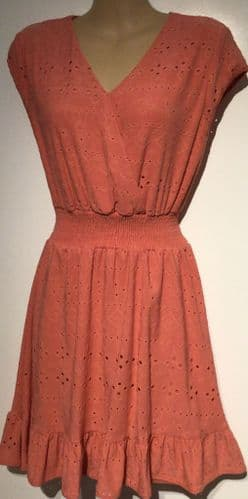 CORAL CUT OUT WRAP SUMMER TUNIC DRESS SIZES 8-16
