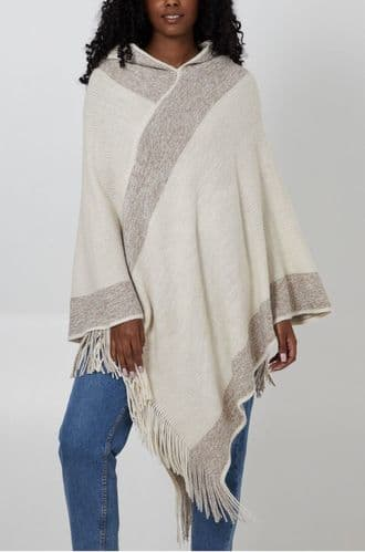 CREAM SPARKLY STRIPE HOODED KNIT PONCHO JUMPER ONE SIZE