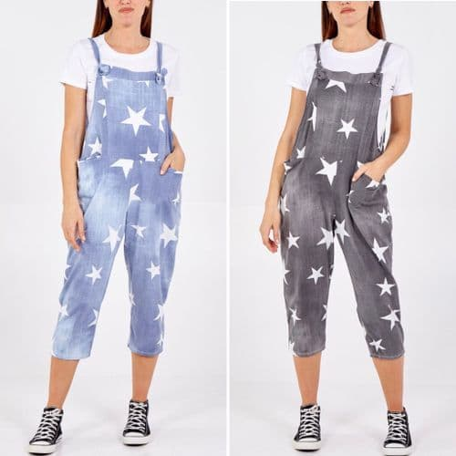 DENIM STAR PRINT SOFT JERSEY 3/4 DUNGAREES ONE SIZE 10-20