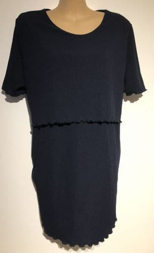 DOROTHY PERKINS MATERNITY NAVY NURSING STRETCH TOP SIZE 20