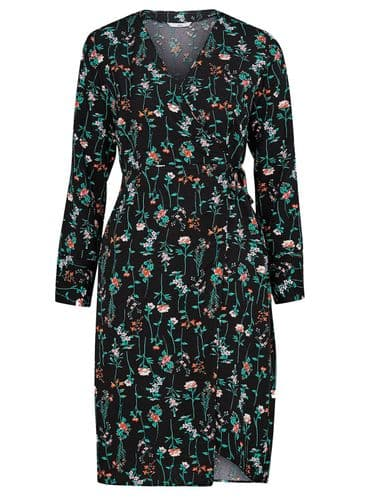 ELLOS BLACK FLORAL VINES WRAP DRESS NEW SIZES 14-20