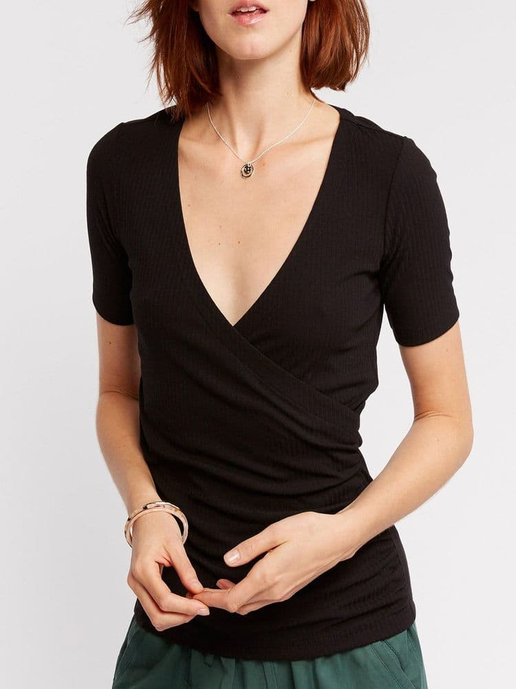 FAT FACE BLACK RIBBED WRAP TOP NEW SIZES 12 & 18