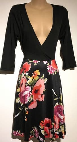 FLORAL BLOOM BLACK WRAP CHEST OCCASION DRESS NEW SIZES 10-18