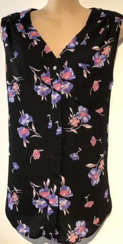 GEORGE BLACK FLORAL SLEEVELESS BLOUSE TOP SIZE 14