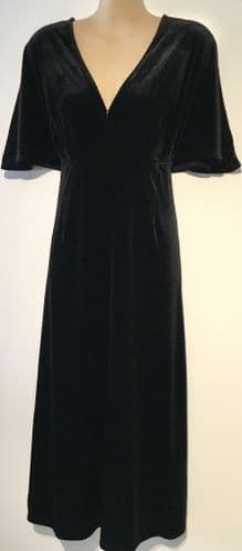 H&M BLACK VELOUR CALF LENGTH DRESS BNWT SIZE S 10