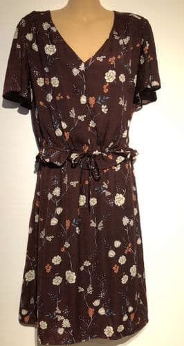 H&M MAMA CONKER BROWN FLORAL PRINT NURSING DRESS SIZE L 14