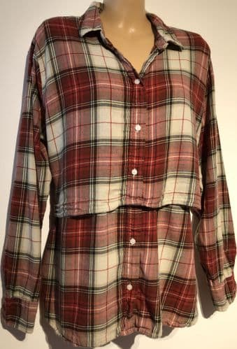 H&M MAMA CREAM/RED CHECKED MATERNITY/NURSING SHIRT TOP SIZE XL 18-20