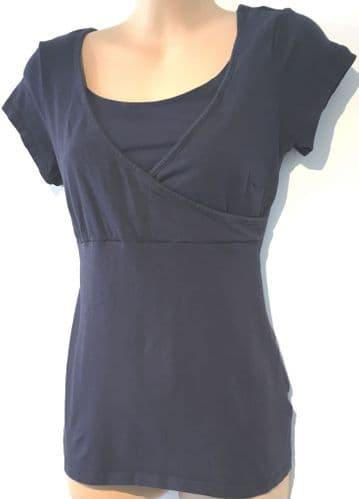H&M MAMA NAVY NURSING SHORT SLEEVE TOP SIZE S UK 10