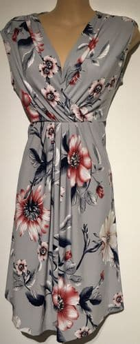 HAPPY MAMA GREY PINK FLORAL MATERNITY/NURSING DRESS SIZE 16
