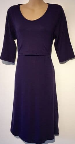 HOLLEO DARK PURPLE JERSEY MATERNITY & NURSING DRESS SIZES 10, 12, 14, 16