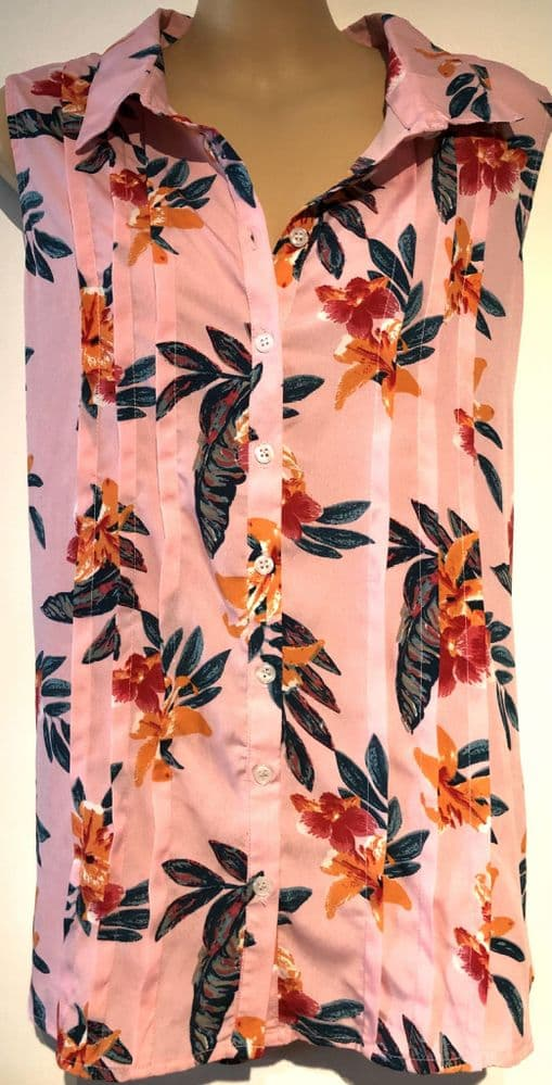 INTUITION PINK FLORAL SLEEVELESS BLOUSE TOP BNWT SIZE 16/18