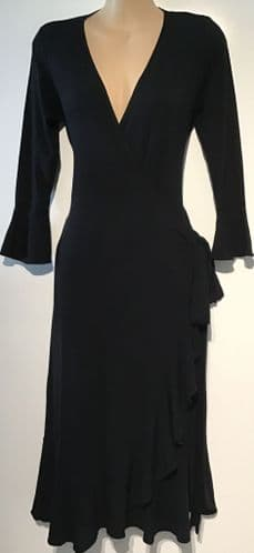 ISABELLA OLIVER BLACK JERSEY WRAP DRESS SIZE 2 UK 10