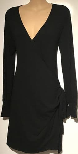 ISABELLA OLIVER MATERNITY/NURSING BLACK JERSEY WRAP DRESS SIZE 2 UK 10