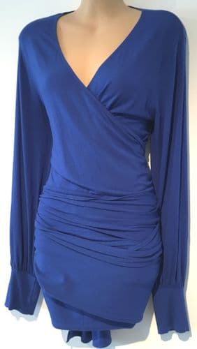 ISABELLA OLIVER ROYAL BLUE WRAP TIE MATERNITY/NURSING TOP SIZE 5 16-18
