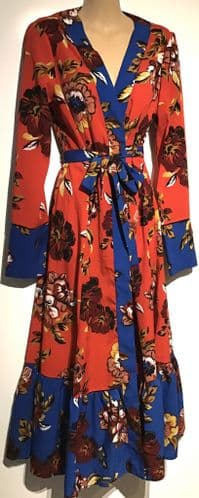 JASMINE & JULIANA RED FLORAL WRAP MIDI DRESS SIZE S 10