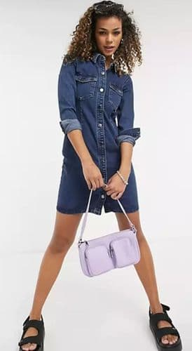 JDY SANNA LONG SLEEVED STRETCH DENIM MINI DRESS NEW 6-16