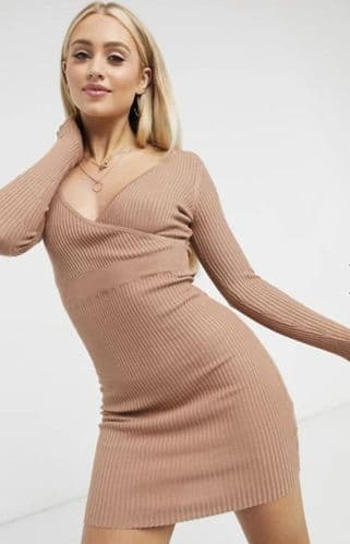 KNITTED RIBBED WRAP JUMPER DRESS BNWT SIZES 8-14