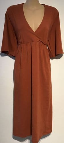 LA REDOUTE MATERNITY/NURSING BURNT ORANGE JERSEY DRESS BNWT SIZE M 12-14