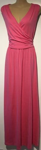 LANDS END PINK JERSEY MAXI DRESS SIZE M 14