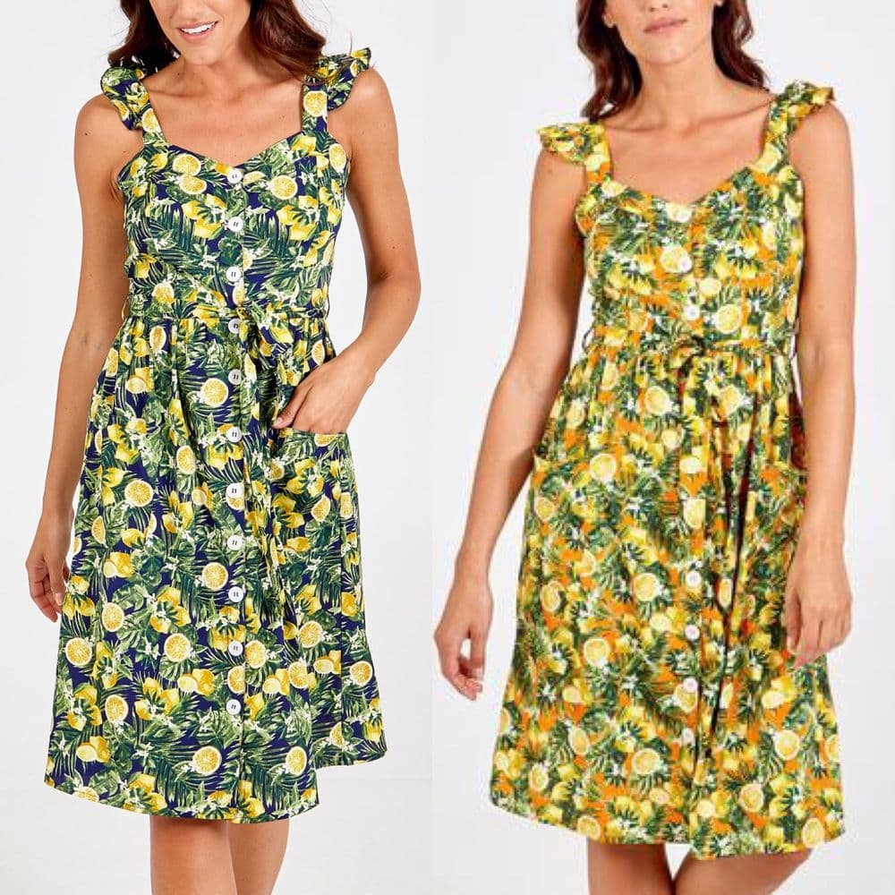 LEMON PRINT FRILL STRAP BUTTON FRONT SUN DRESS NEW SIZES 8-16