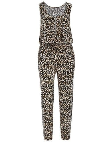 LEOPARD PRINT ZIP FRONT SLEEVELESS JUMPSUIT NEW SIZES 10-22