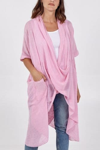LINEN PINK LONG WRAP OVER TOP NEW 10-18