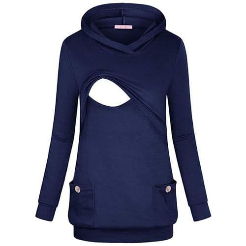 LONG BREASTFEEDING HOODIE NAVY BLUE WITH FRONT POCKETS SIZES UK 10-18