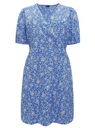 M&CO BLUE DITSY FLORAL TUNIC WRAP DRESS NEW SIZES UK 14-22