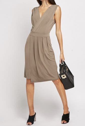 MOLESKIN BROWN STRETCH SLEEVELESS WRAP DRESS NEW SIZE 18