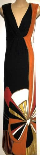 MONSOON BLACK/ORANGE JERSEY MAXI DRESS SIZE 20