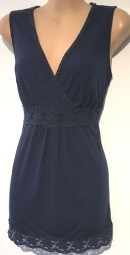 MONSOON NAVY BLUE LACE TRIM VEST TOP SIZE 12