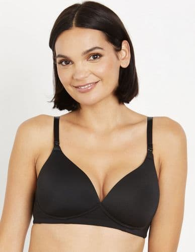 MOTHERHOOD BLACK NONWIRED NURSING/MATERNITY BRA SIZES 32-40 C-D