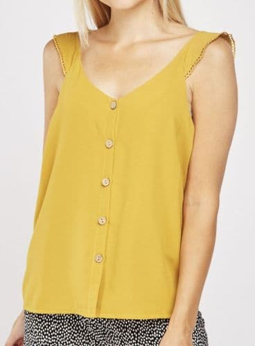 MUSTARD BUTTON FRONT VEST TOP NEW SIZES UK 8-12