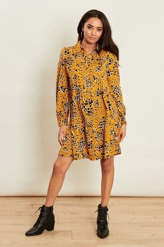 MUSTARD HEART PRINT TUNIC SHIRT DRESS BNWT SIZES UK 8, 10, 12, 14