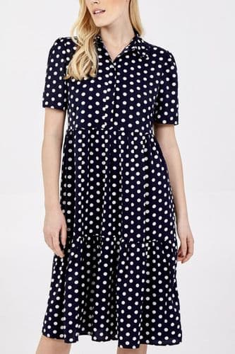 NAVY POLKA DOT TIERED SHIRT DRESS BNWT SIZES 8-16