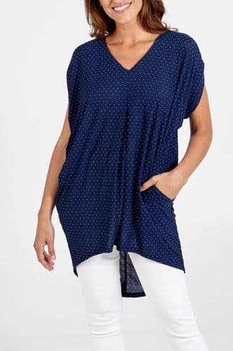 NAVY SPOTTY HIGH LOW POCKET TUNIC TOP BNWT SIZES 10-20