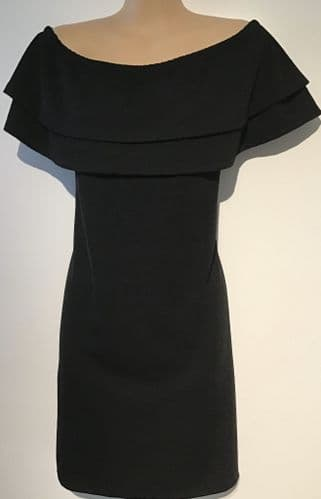 NEW LOOK BLACK DOUBLE FRILL BODYCON BARDOT DRESS BNWT SIZE 18