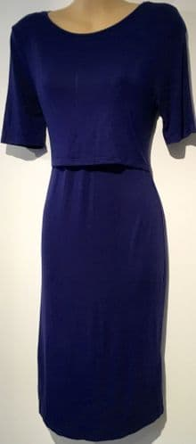 NEW LOOK DARK BLUE NURSING FLAP CHEST JERSEY DRESS SIZE UK 8