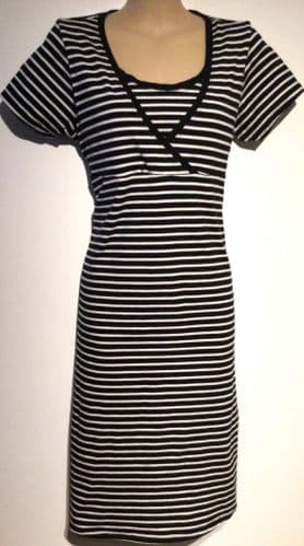 NEW LOOK MATERNITY BLACK & WHITE STRIPE JERSEY DRESS SIZE 12
