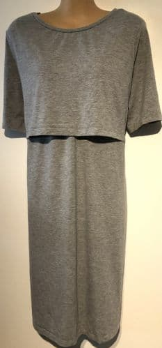 NEW LOOK MATERNITY GREY NURSING FLAP CHEST JERSEY DRESS SIZE UK 20