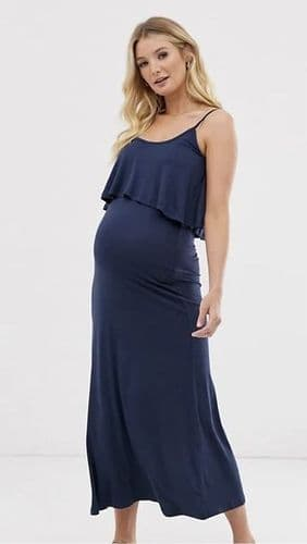 NEW LOOK MATERNITY NAVY MAXI NURSING DRESS SIZE 10