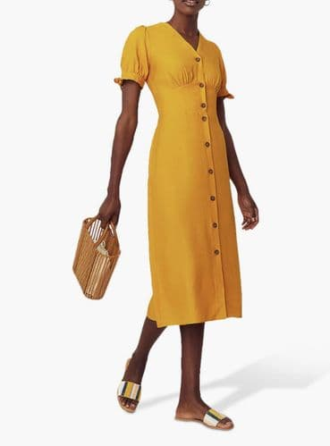 OASIS MUSTARD BUTTON MIDI SHIRT DRESS BNWT SIZES 6-18