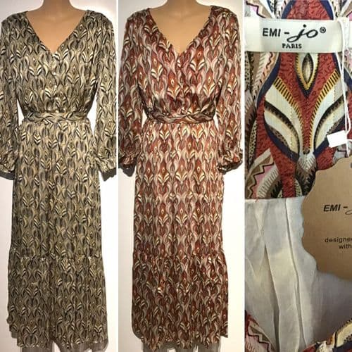 OLIVE OR RUST PRINTED BUTTON MAXI SHIRT DRESS BNWT SIZE M 12-14
