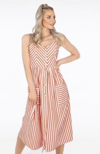 ORANGE STRIPE BUTTON MIDI PINAFORE DRESS BNWT SIZES 8-14