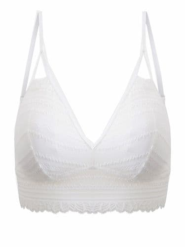 OYSHO CREAM REMOVABLE PADDING LACE BRALET 33-38 8-16
