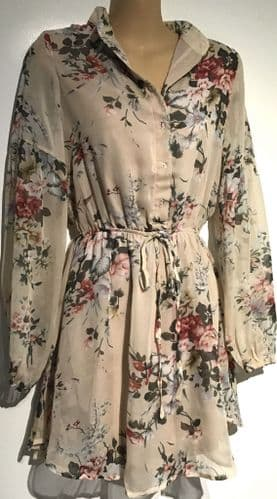 PARISIAN BEIGE FLORAL COLLARLESS SHIRT TUNIC DRESS/TOP SIZES UK 6-14